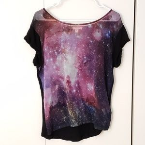 Cotton On sheer starry astro space galaxy shirt
